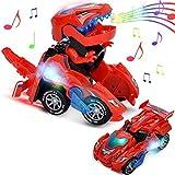 Dinosaur Cars Transformando Juguetes, Regalos de cumpleaños de Navidad para niños de 3 a 12 años Niños Niñas Niños pequeños, Deformación eléctrico Coche LED con Sonido Ligero Juguete (uno Rojo)