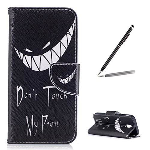 Trumpshop Smartphone Custodia Cover Protettiva per Samsung Galaxy J7 (2017) SM-J730 [Don't Touch My Phone (Sorriso)] Ultrasottile Portafoglio in PU Pelle Chiusura Magnetica Funzione Sostegno