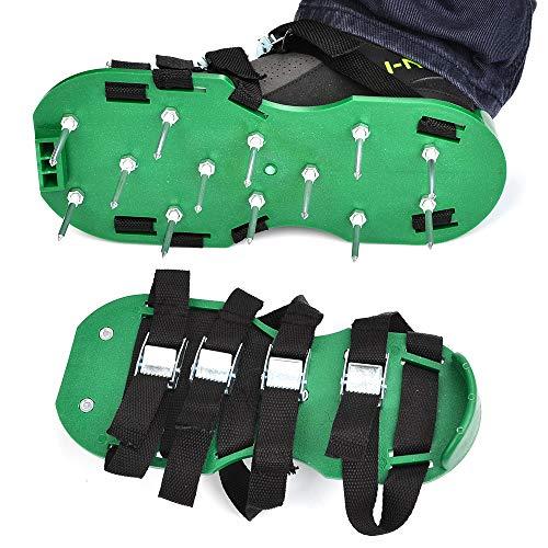 TIMESETL Zapatos Jardín de Césped 8 Correas Ajustables PP Aireador de Césped con 5cm Clavos para Jardín