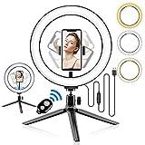 Abafia Luz de Anillo LED, Aro de Luz con Tripode y Control Remoto Bluetooth 3 Colores Modo 10 Niveles de Brillo, Anillo de Luz Selfie Rotación de 360 ° para Selfie, Maquillaje y Streaming(3.5-6.5''