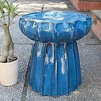 International Caravan Furniture Piece Navy Blue Round Scalloped Ceramic Garden Stool