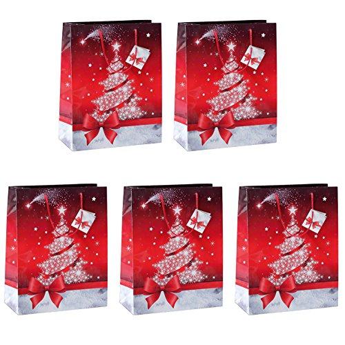 Sigel GT022 - Paquete de 5 bolsas de regalo con motivo navideño, rojo