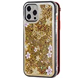 Stilluxy Compatible with iPhone 12 case and Compatible with iPhone 12 pro case Luxury Phone Cover Butterfly Bling Cute qicksand for Women and Girl Thin Slim 5g 2020 6.1 inch (Gold)