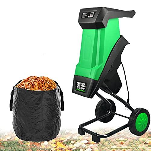 BKWJ Trituradora de jardín con Ruedas, trituradora de Madera eléctrica de 2400 W con Bolsa recolectora de 50 l, diámetro de Corte de 1,7 Pulgadas, trituradora de Ramas de Hojas,Chipper