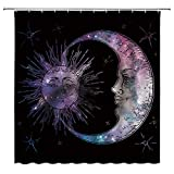 AMHNF Sun Moon Shower Curtain Boho Chic Art Universe Starry Sky Antique Celestial Pattern Home Bathroom Decor Quick Dry Fabric with 12 Hooks,70x70 Inch,Black Purple
