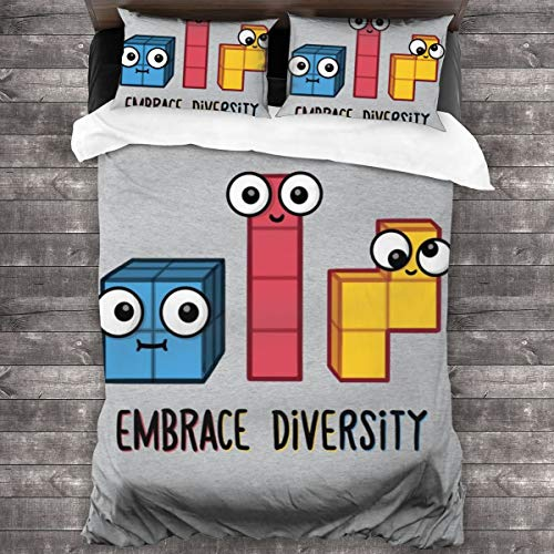 KUKHKU Tetris Embrace Diversity 3 Pieces Bedding Set Duvet Cover 86″x70″,Decorative 3 Piece Bedding Set with 2 Pillow Shams