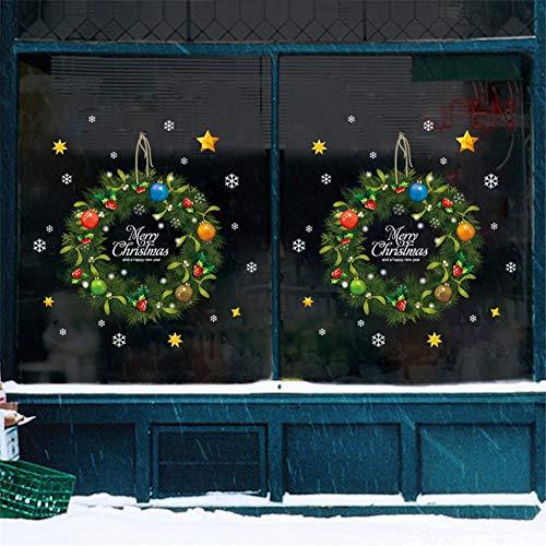 succeedw 10pcs De Guirlande De Noël Autocollant Mural, Imperméable/Verre Amovible Fenêtre Applique, Nouvel an, Décoration De Noël Décoration