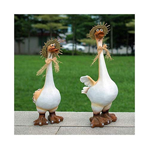 Resin Figurine Duck Outdoor Animal Statue Decor Garden Decoration For Lawn And Yard 2 Pcs