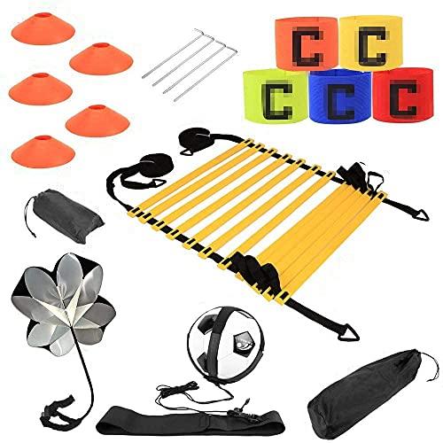 Scala di coordinazione per calcio, Speed & Agilità, set di allenamento, scala e cono, paracadute, chiodi in metallo e borsa per il trasporto, cintura da allenamento, braccialetto sportivo