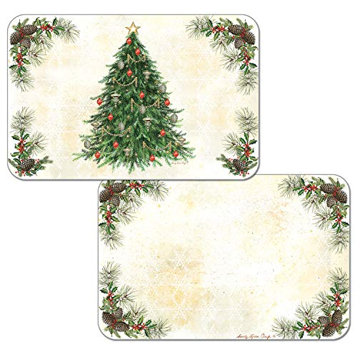 Counterart Set of 4 Reversible Wipe Clean Placemats Vintage Christmas Tree
