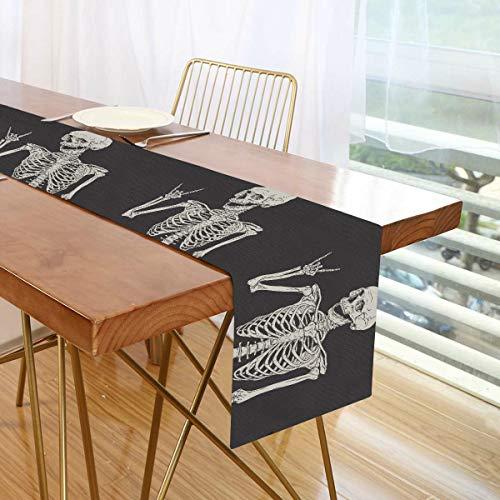 ALARGE - Camino de mesa divertido con diseño de calavera mexicana para Halloween, 13 x 178 cm, mantel individual para boda, fiesta, cocina, comedor, hogar, oficina, decoración