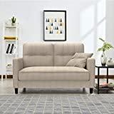 Loveseat Sofas for Living Room,Mid Century Small Sofa Couch for Small Spaces,Bedroom,Apartment with Tool-Free Assembly Affetto Furniture (Beige)