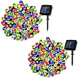 woohaha Solar Fairy String Lights Outdoor Waterproof, 2 Pack 33ft 100LED Solar Powered String Lights for Christmas Patio Home, Wedding, Party (100LED 2pcs, Multicolor)