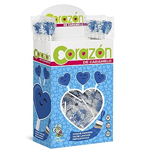 Cerdán Piruleta Corazón Pintalenguas-Sabor Frambuesa Caramelos 200 Unidades de 5.2 g