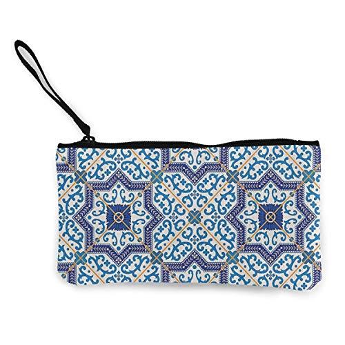 Yuanmeiju Moroccan - Monedero de lona con cremallera para llavero o bolso de viaje