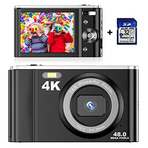 Digitale 4K-Kamera mit 32 GB SD-Karte Mini-Videokamera 48 MP 2,8-Zoll-LCD-Akku Wiederaufladbare Taschenkamera für Studenten mit 16-fachem Digitalzoom Vlogging-Kamera
