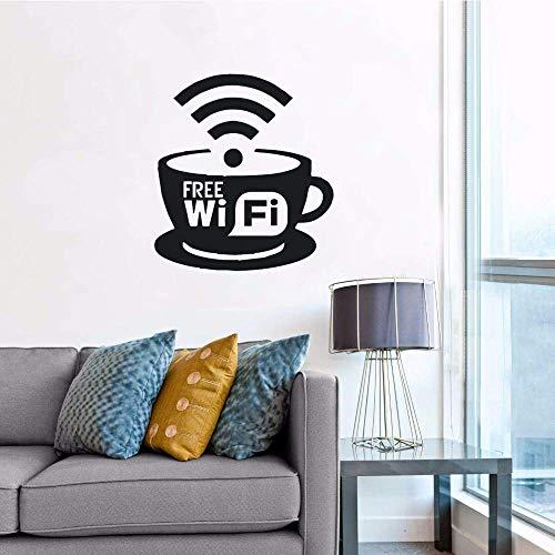 Gratis WiFi Logo Muursticker Koffie Café Restaurant Muurdecoratie Gratis WiFi Cup Vinyl Muursticker 57x63cm