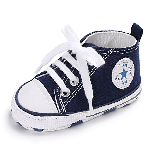 ENERCAKE Baby Shoes Boys Girls Toddler High-Top Ankle Canvas Sneakers Soft Sole Newborn Infant First Walkers Crib Shoes( 6-12 Months Infant,AA-Navy