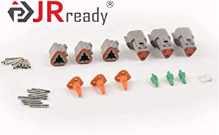 JRREADY DT Connector 3 Pin Gray Waterproof Electrical Wire Connector with Terminal and Seal Plug,3 Sets