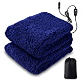 Zento Deals Sherpa Thermal Heated Travel Blanket, Soft Plush Warm Fuzzy with Temperature Control –Fire Proof, Overheat Protection 60'x 50', for Home, Car, or Office