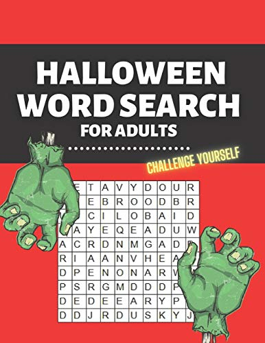 Halloween Word Search for Adults: Challenge Yourself Difficult Activity Book Large Print Spooky Riddles