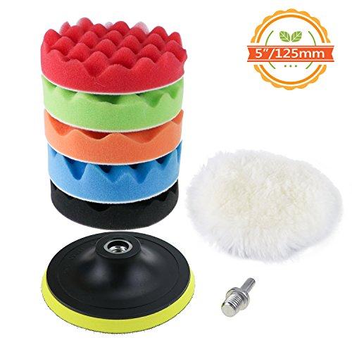 TedGem Kit d'éponge de polissage avec adaptateur de forage et tampons d'épilation en laine, jeu de 7 tampons de polissage pour la voiture, polisseuse et cirage