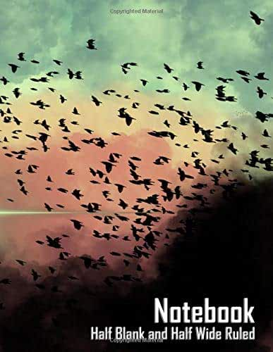 """Notebook - Birds in the Clouds (Half Blank Half Wide Ruled, Matte Softcover, 196 White Lined Pages, 8.5"""" x 11"""" (21.59 x 27.94 cm))"""