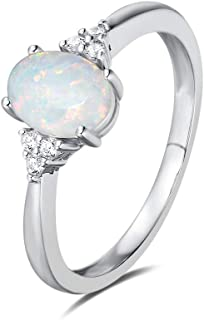 Created Opal Rings Sterling Silver 4-prong Halo White Opal Cubic Zirconia Engagement Wedding Ring October Birthstone Fine Jewelry for Women Girls Size 5,6,7,8,9