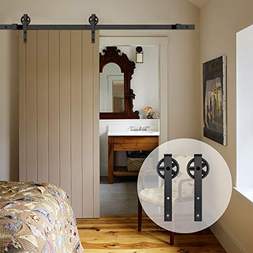 AMC Funiture - Kit de puerta corredera de madera de granero para puerta individual suave y silenciosamente fácil de instalar, superficie negra de forma plana (6 pies, estilo de rueda grande)