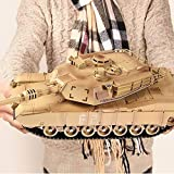 N&G Decoración del hogar Enorme 2.4G Inalámbrico RC Tanque de Batalla Principal Cable de Cargador USB Control Remoto Tanque Panzer 1:18 Carro de orugas Militares con Sonido (Coche Inteligente)