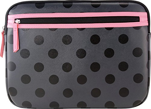 Studio C Laptop Sleeve Fits most laptops with up to a 14' display Black/Pink/Polka Dot