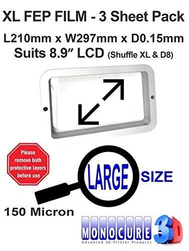 "Monocure3D 3DFF150-3P XL FEP Film 150 Micron - Película para impresora LCD SLA/DLP de 8,9\"" (3 unidades, 210 x 297 x 0,15 mm)"