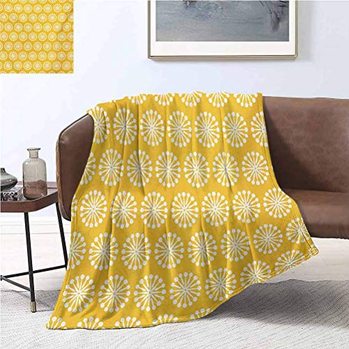 Yellow and White Flannel Throw Blankets 40x50 Inch Monochrome Ornament Pattern Abstract Dandelion Blossoms Shabby Colors Flannel Fleece Plush Throw Blanket Marigold White