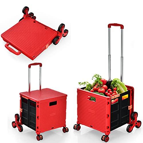 RELAX4LIFE Einkaufstrolley klappbar, Einkaufswagen 3 einstellbare Höhe, Einkaufskorb mit 8 Rädern, Einkaufskorb mit Deckel & Teleskop-Griff, für Reisen & Einkaufen, aus Kunststoff & Alu (Rot)