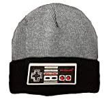 Bioworld NES Retro Controller Design Knit Hat Beanie Grey and Black