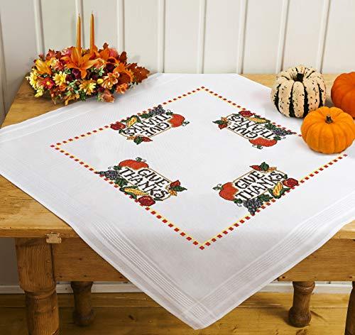 Kamaca Kit de punto de cruz para mantel (mantel de 80 x 80 cm) con plantilla de punto de cruz (mantel de centro de 80 x 80 cm)