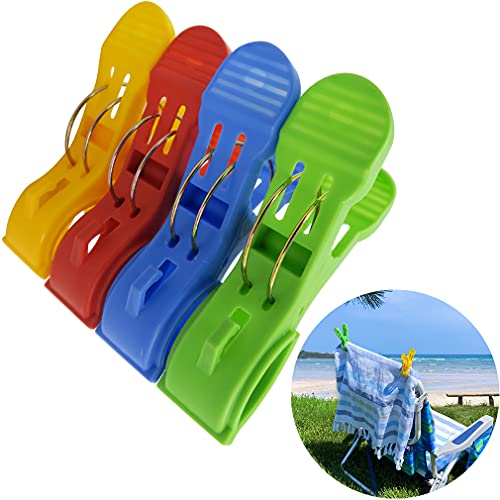 Evelots Beach Chair Towel/Clothesline Clips-Steel Spring-No Blowing Away-Set/12