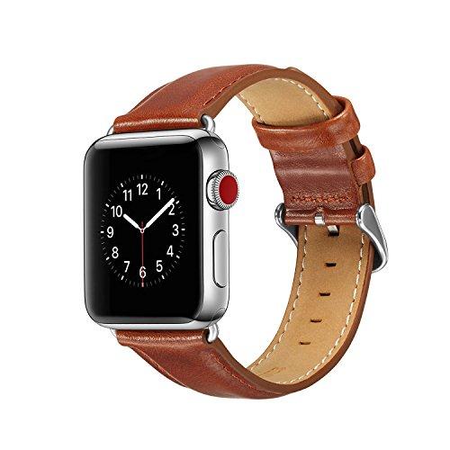 Arkrdiif Compatible con correa de piel de vacuno en Apple Watch 38mm 40mm. Utiliza la Parte superior de Cuero para iWatch SE/6/5/4/3/2/1, Sport Edition Slim & Thin Wristband Strap (38mm/40mm, marrón).