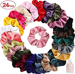 Mandydov 24 Pcs Hair Scrunchies Korean Velvet Elastic Hair Bands Scrunchy Hair Ties Ropes Scrunchie for Women or Girls Hair Accessories, 24 Assorted Colors Scrunchies