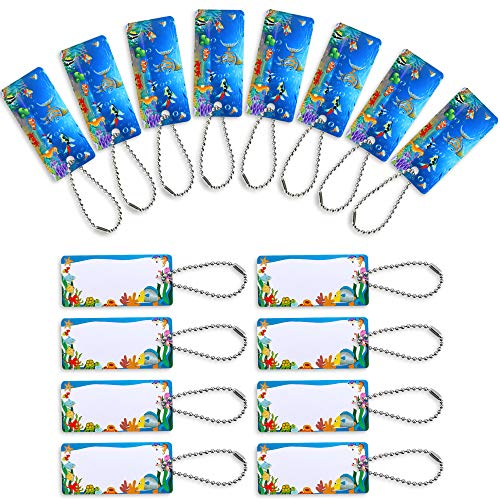 Child ID Bag Tags Cute Name Tags Plastic Luggage Tags Bag Tags with Chains for Schoolbag Lunchbox Students (16)