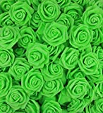 Lightingsky 3 x 1.6 x 3 inches DIY Real Touch 3D Artificial Foam Rose Head Without Stem for Wedding Party Home Decoration (100pcs, Green)
