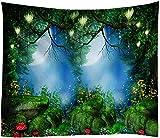 Yhjdcc Tapiz de Bosque Grande luz de Luna Colgante de Pared Indio Pavo Real Pintura al ¨Leo Bohemia Seta Roca Manta de Poli¨¦ster 150cm x 200 cm