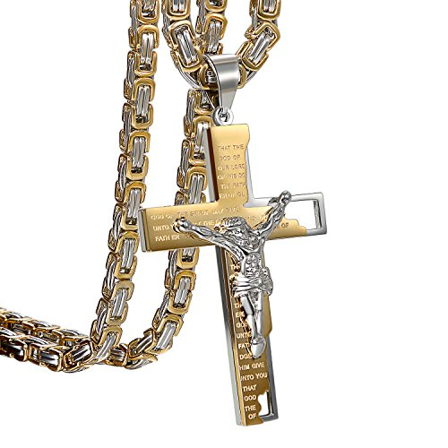 OIDEA Herren Halskette mit Kreuz Bibel Gebet Anhänger, Vintage Biker Edelstahl Jesus Kruzifix Anhänger mit Königskette Ketten 55cm, Schwarz Silber
