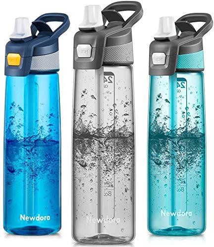 Newdora Trinkflasche 750ml Wasserflasche Mit Trinkhalm BPA Frei Aufklappbarer Deckel mit Tragegriff Auslaufsicher Sportflasche für Outdoor, Yoga, Schule,Büro,(Grau)