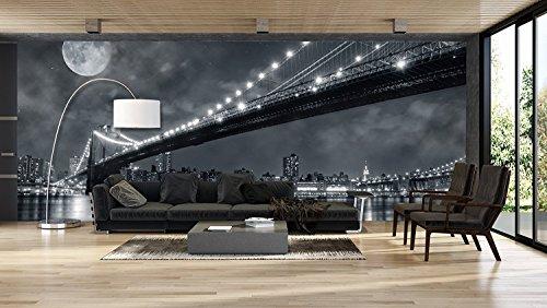 Oedim Fotomural Vinilo Pared Vista Nocturna Nueva York en Blanco y Negro   Fotomurales Pared   Fotomural Decorativo   Mural   Vinilo Decorativo   400 x 300 cm   Decoración Gimnasios  