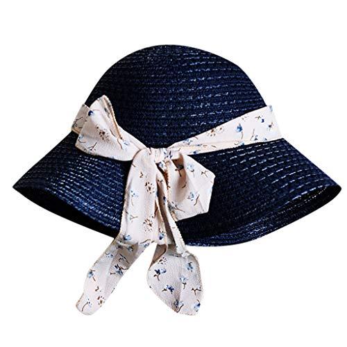 DOLDOA Hut Damen Sommer,Damen-Frauen-beiläufiger Fester breiter Rand-Diskette Faltbarer Stroh-Strand-Hut (Marine)