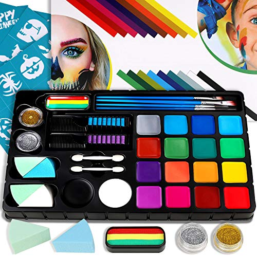 Bodypainting Schminke & Gesicht malen voller Farbe Kinder Make-up Palette-Safe & ungiftig Easy Wash,...
