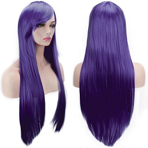 AKStore Wigs 32' 80cm Long Straight Anime Fashion Women's Cosplay Wig Party Wig With Free Wig Cap(Purple)