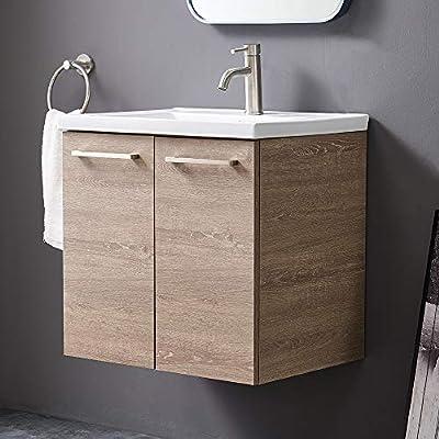 "Modern 24""Wall-Mounted Grey Wood Grain Floating Bathroom Vanity, Simple Design 2-Door Bathroom Sink Cabinet Vanities Combo Set with White Integrated Undermount Ceramic Vessel Sink"