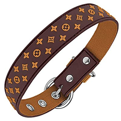 Designer Dog Collar for XSmall, Small, Medium and Large Breeds, in Black, Brown, Pink, Blue, Red and Monochrome